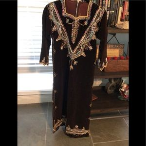 Small Wine Velvet Embroidered w/Pearl Trim Dress